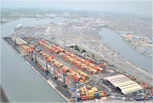 Aerial View Of Ports Cargo Terminal