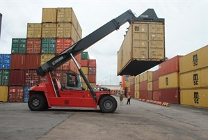 Reach Stacker In Operation At Ports Cargo Terminal